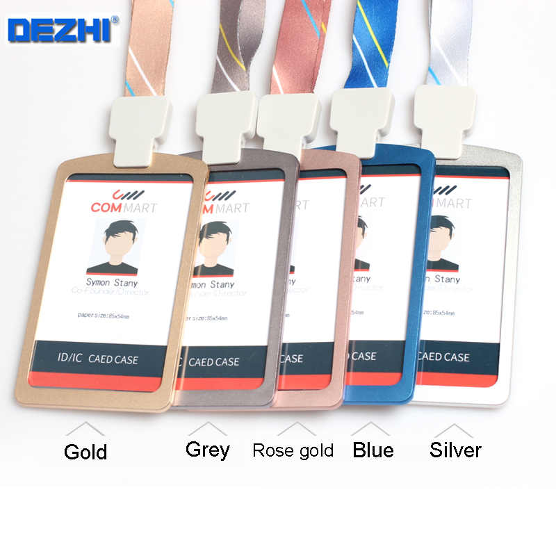 DEZHI Metal Double-sided Visual ID Card Holder With Luxury Neck Strap,Surface Frosted Card Holder With Soft Non-wrinkle Lanyard