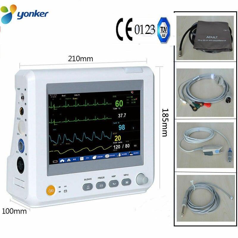 7 inch 6 Parameters Patient Monitor NIBP Spo2 PR ECG RESP TEMP ICU CCU Multi parameters