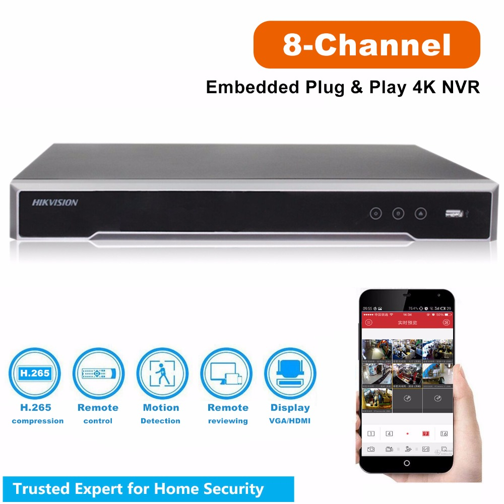 Оригинальный Hikvision 8MP 4K 8CH DS 7608NI I2/8 P для системы видеонаблюдения 2 SATA 8 POE порты 8CH Plug & Play NVR