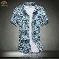 Homens Camisa 5XL 4XL Tamanho grande Floral Estilo Nacional Curta MasculinaCotton Praia Camisa de manga Slim Fit Estilo Verão Top Tees 2017