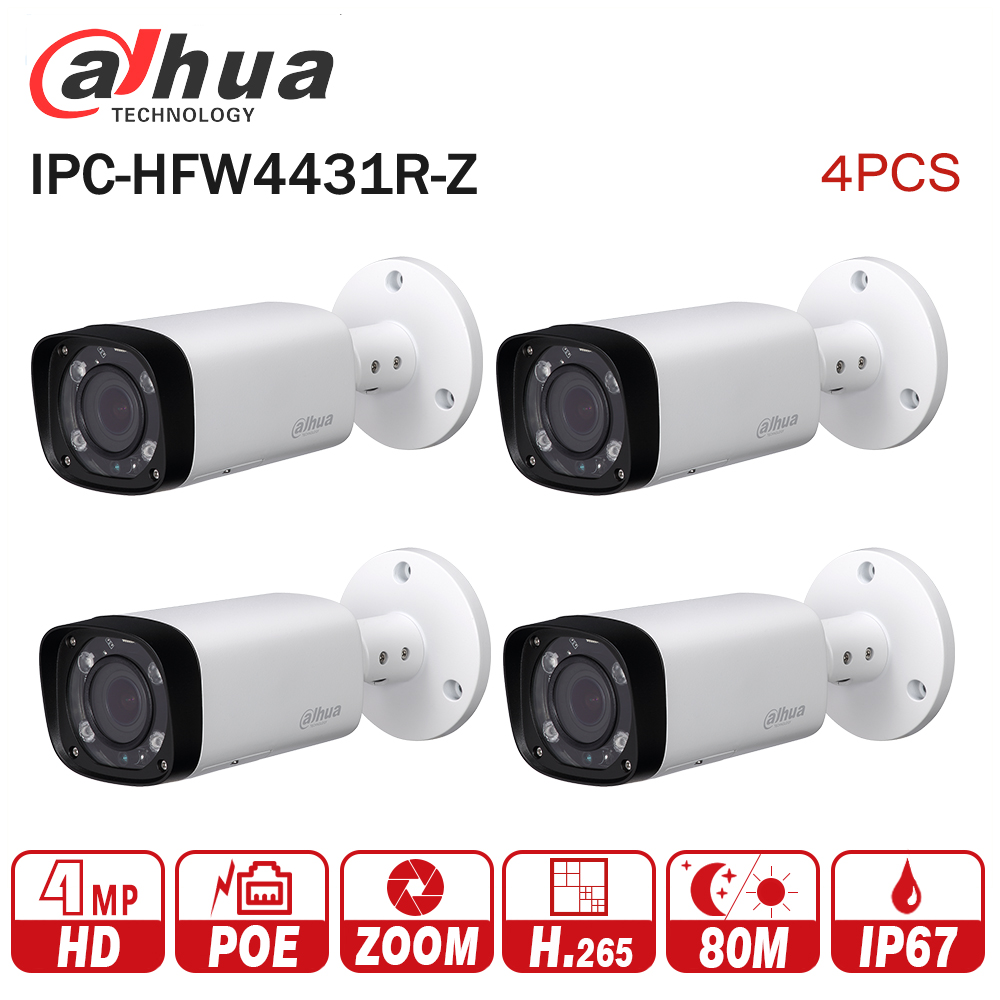Dahua IPC-HFW4431R-Z 4pcs/lot 4mp Network IP Camera 2.7-12mm VF lens Auto Focus 80m IR Bullet Security POE for CCTV system