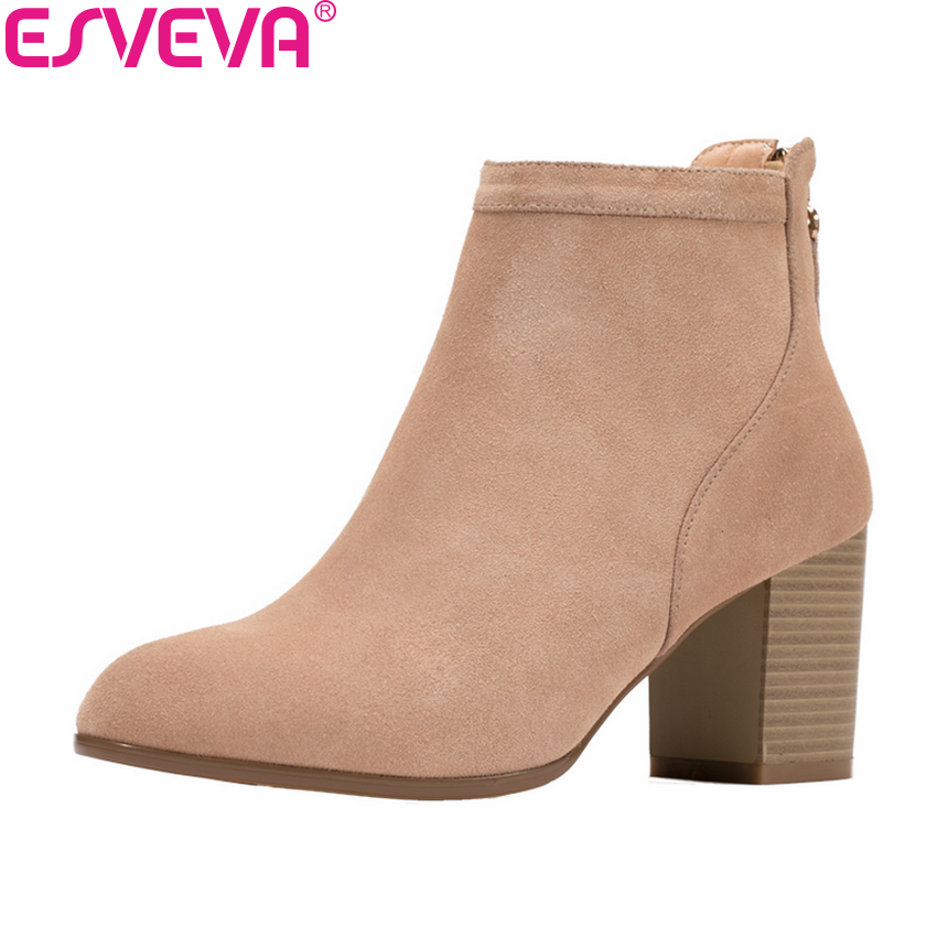 ESVEVA 2019 Women Boots Basic Round Toe Shoes Zip Short Plush Ankle Boots Square High Heels Sewing Woman Boots Shoe Size 34-39 esveva 2018 women boots high heels short plush buckle ankle boots square heels chunky pointed toe sexy fashion shoes size 34 39