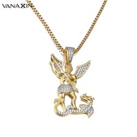VANAXIN Angel Hero Dragon Fighter Necklaces Pendants For Men Charms Cubic Zircons Stone Jewelry Gold/Silver Color Gift With Box