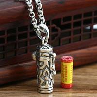 Thai 925 Argent Tibétain Gau Boîte Pendentif vintage sterling argent Bouddhiste Prière Boîte Amulette Pendentif Tibétain Ghau Pendentif