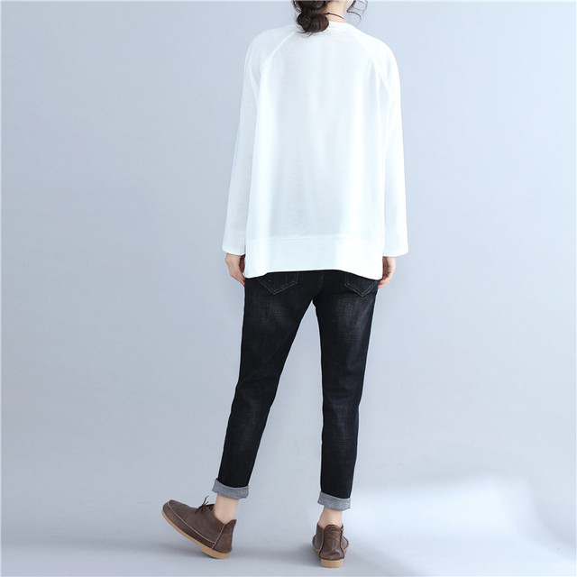 Women's Casual Plus Size Long Sleeve Cotton T shirt 2017 Autumn Lagenlook Loose Shirts Ladies Fashion Bottle Patterned Tops Tees 4