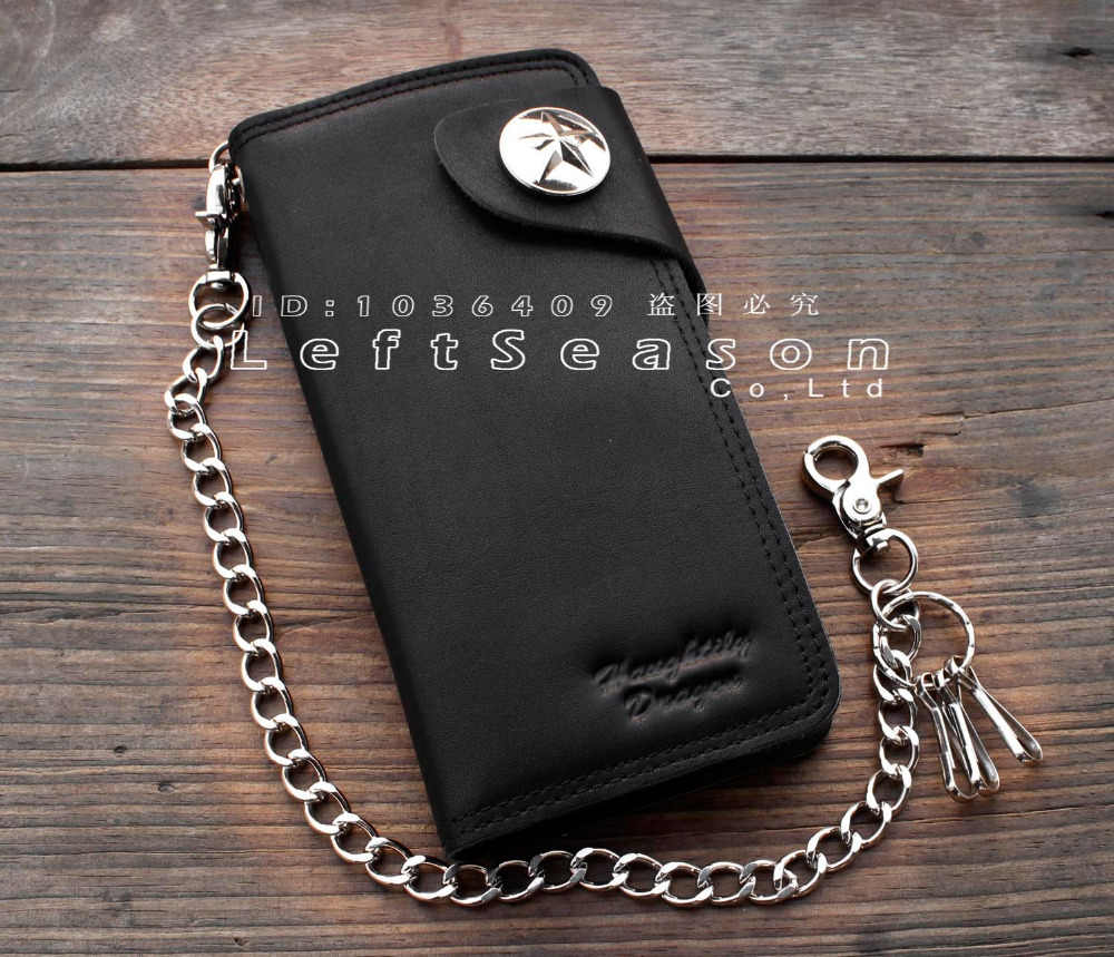 Basic Popular Bifold Long Leather Wallet With Chain for Motorcylce Biker Men