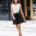 New Solid PU Leather Skirt Empire Black White Mini Sexy Women Winter Summer Skirt Vintage High Waist Pleated Skirt 2254