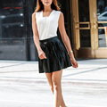 Nuevo Cuero de LA PU Sólida Falda Imperio Negro Blanco Mini Sexy Invierno de Las Mujeres Falda de Verano de La Vendimia de Cintura Alta Falda Plisada 2254