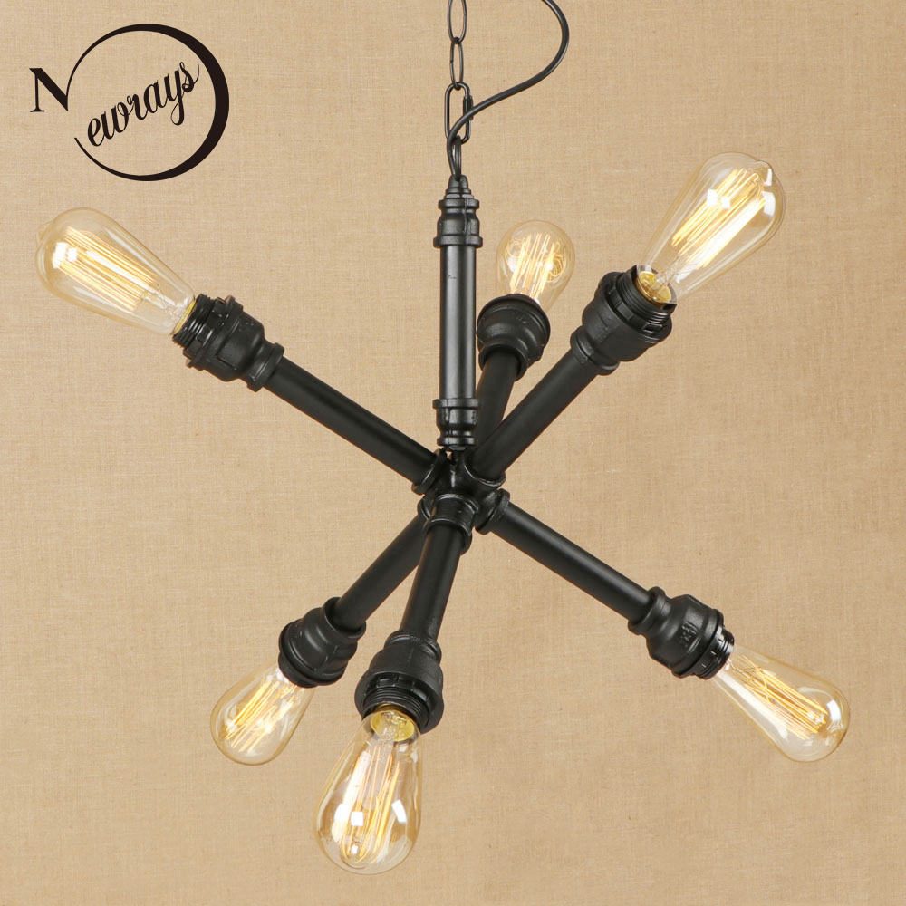 Vintage iron painted industrial wind pendant lamp LED 6 lamp Pendant Light Fixture E27 220V For Kitchen bed room restaurant bar edison loft style vintage light industrial retro pendant lamp light e27 iron restaurant bar counter hanging chandeliers lamp