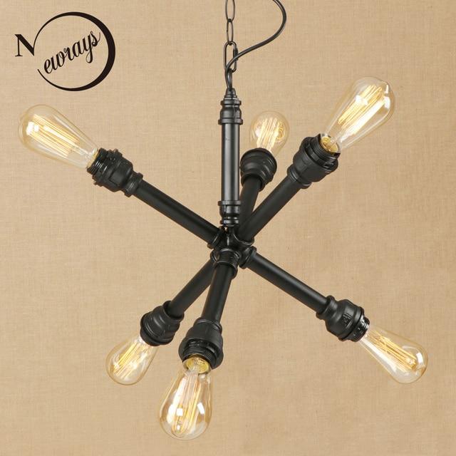 Vintage iron painted industrial wind pendant lamp LED 6 lamp Pendant Light Fixture E27 220V For Kitchen bed room restaurant bar
