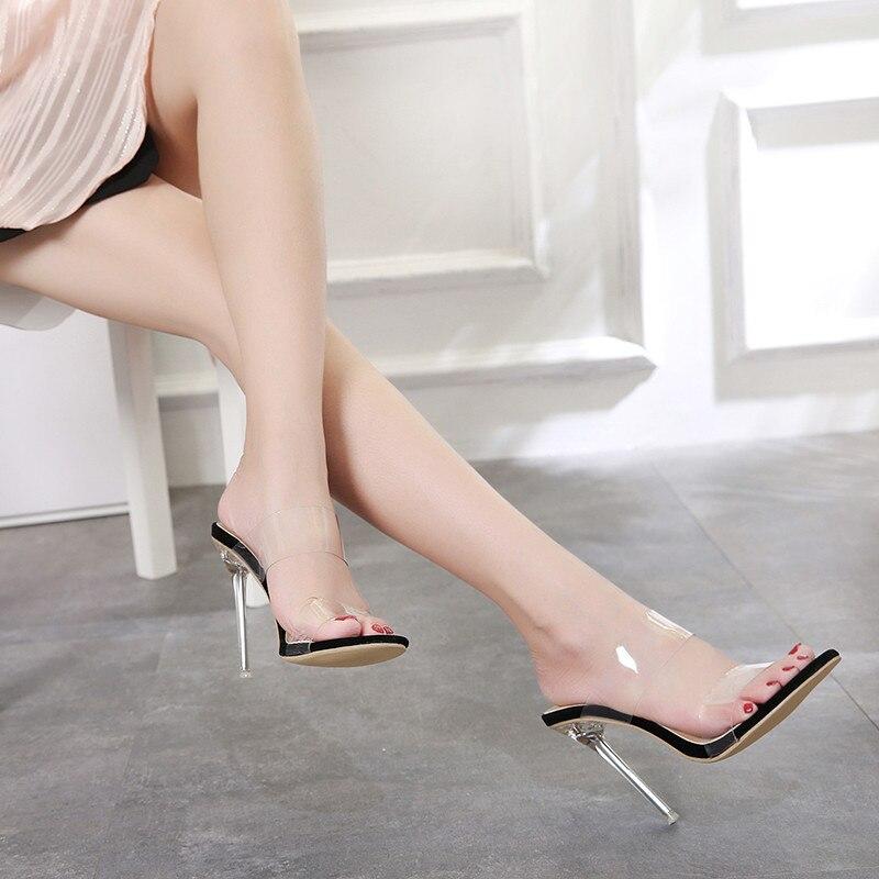2019 Women Summer 12cm High Heels Almond Toe Stiletto Clear Heels Sandals Transparent Fashion Leisure Open Toe Jelly Dress Shoes|High Heels| |  - title=