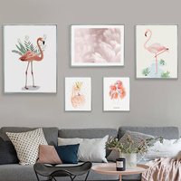 Christmas Home Decoration Aluminum Alloy Metal Paintings Frame Print Animal Flamingo Canvas Painting Nordic Picture Photo Frame
