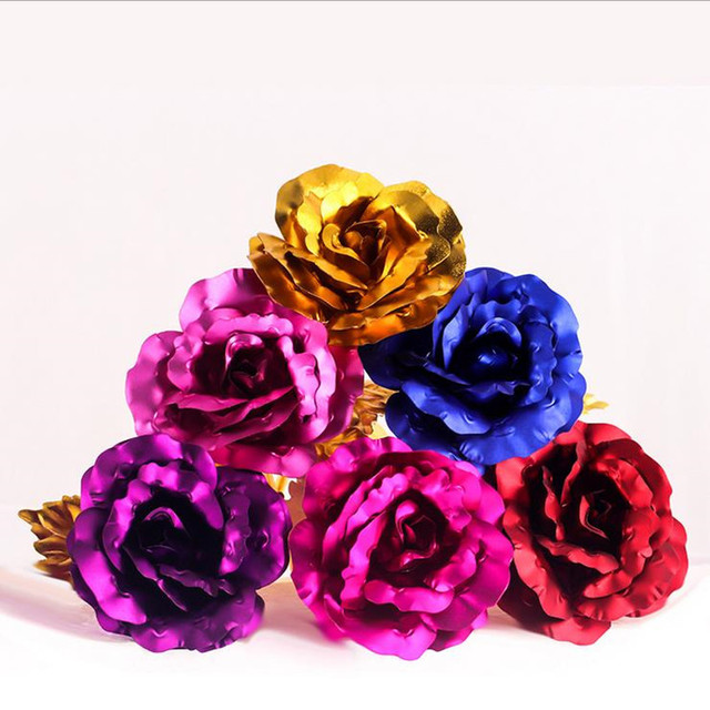 1pc Gold Foil Plated Rose Creative Gifts Lasts Forever For Lover S Wedding Christmas Day