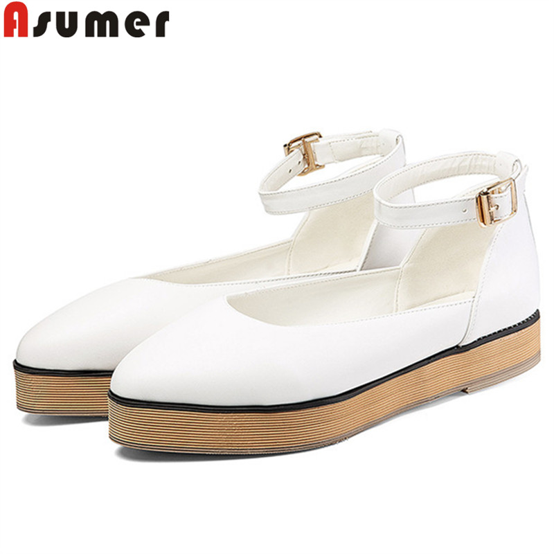ASUMER Plus Size  34-47 New Shoes Woman Pointed Toe Buckle Mary Janes Shoes Casual Comfortable Flats Women 2019