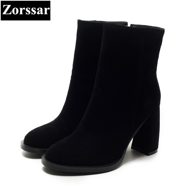{Zorssar} 2018 NEW fashion women Riding boots Suede leather High heels womens ankle boots Round Toe Autumn winter women shoes front lace up casual ankle boots autumn vintage brown new booties flat genuine leather suede shoes round toe fall female fashion