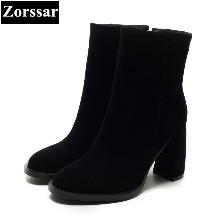 где купить {Zorssar} 2018 NEW fashion women Riding boots Suede leather High heels womens ankle boots Round Toe Autumn winter women shoes по лучшей цене