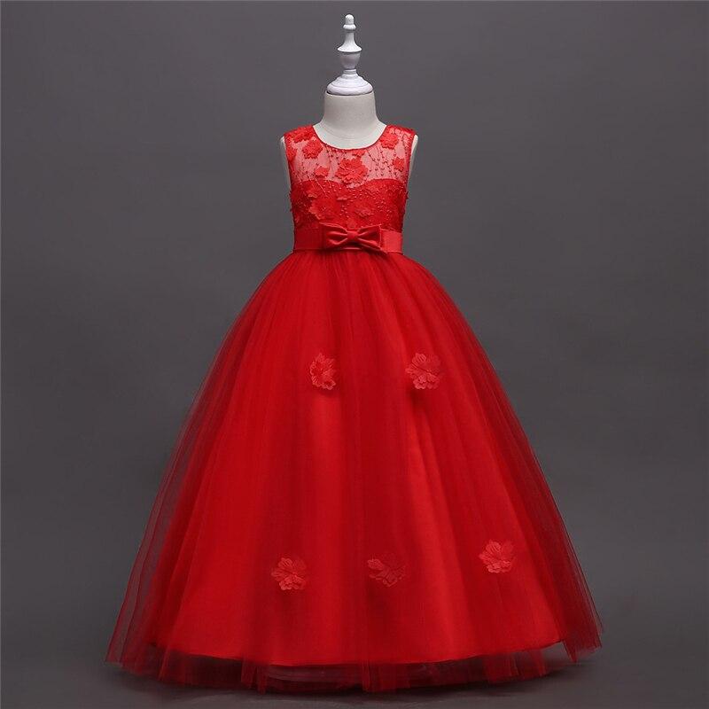 Robes d'adolescentes enfants rouge robes de bal enfants vêtements enfants longue robe de mariée fille 3 4 5 6 7 8 9 10 11 12 13 14 15 ans