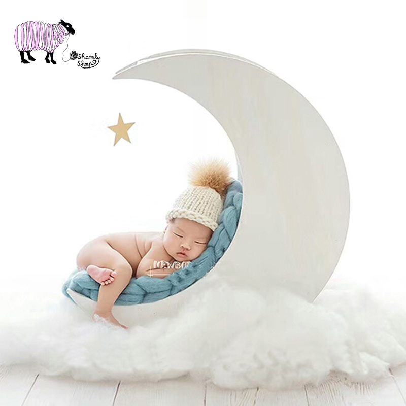 Hats & Caps Newborn Baby Photography Moon Bed Props Baby Girl Boy Photo Shoot Handmade White Solid Wood Basket Bebe Foto Shooting Stuff Fashionable And Attractive Packages