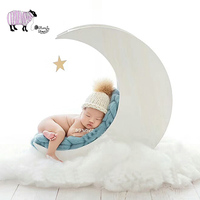 Newborn Baby Photography Moon Bed Props Baby Girl Boy Photo Shoot Handmade White Solid Wood Basket bebe foto Shooting Stuff