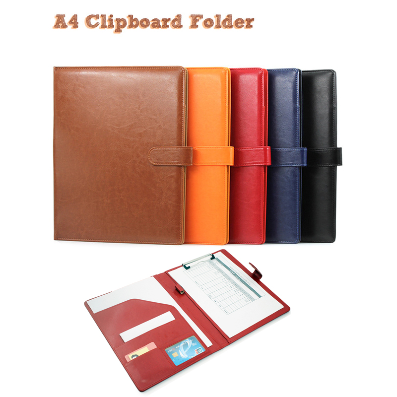 Portapapeles A4 portafolios multifunción organizador de cuero resistente multifunción cuadernos papelería Bloc de notas de regalo