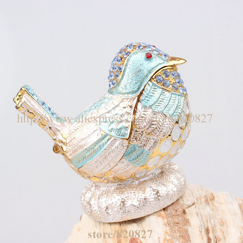 Bird Jeweled Treasure Box Crystal Studded Bird Jewelry Trinket Box Colorful Bird Faberge Style Trinket Craft Handmade Decor