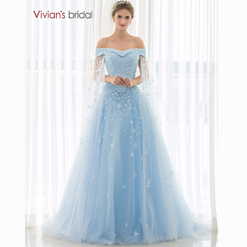 Discount A Line Wedding Dresses New Strapless Flower: Vivian's Bridal Blue Wedding Dress 2016 Strapless Flower
