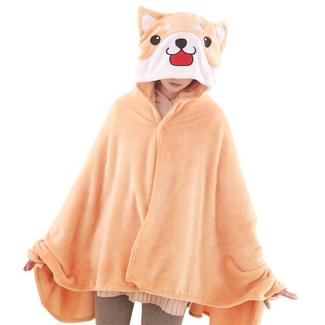 1 PEÇA Bonito Cão Corgi Capa De Pelúcia Macia Manto Anime Capuz Macio Pijama Animal Dos Desenhos Animados Cobertor Manto Quente