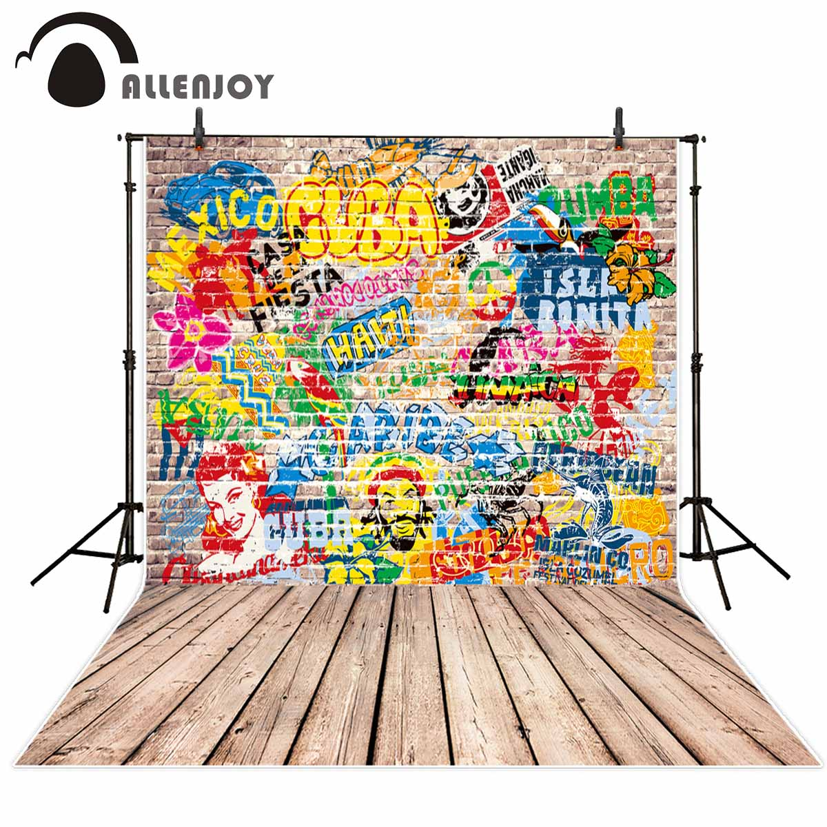 Allenjoy photo background graffiti Brick wall wood floor colorful faces countries background for studio for photographing faces faces first step
