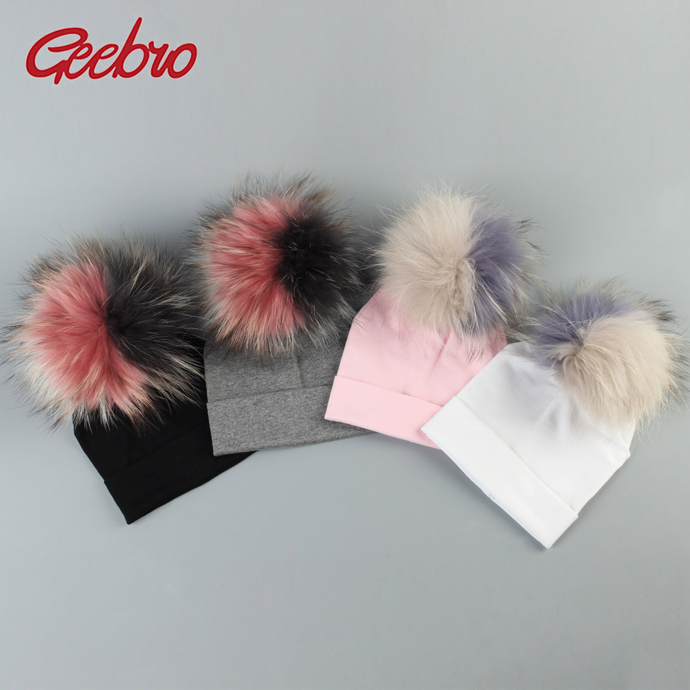 Geebro Baby Cotton   Beanies   Hats With Patchwork Raccoon Pompom For Newborn Girls Boys Kids Warm Plain Cotton   Skullies     Beanie