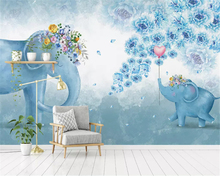 beibehang Custom size Nordic hand-painted elephant flower childrens bedroom TV background papel de parede 3d wallpaper behang