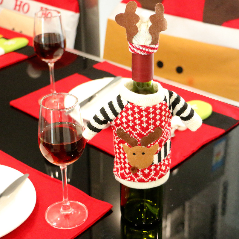 2017 Christmas Deer Elk Style Red Wine Champagne Bottle Covers Bag For christmas gifts New Year Christmas Decorations Ornament