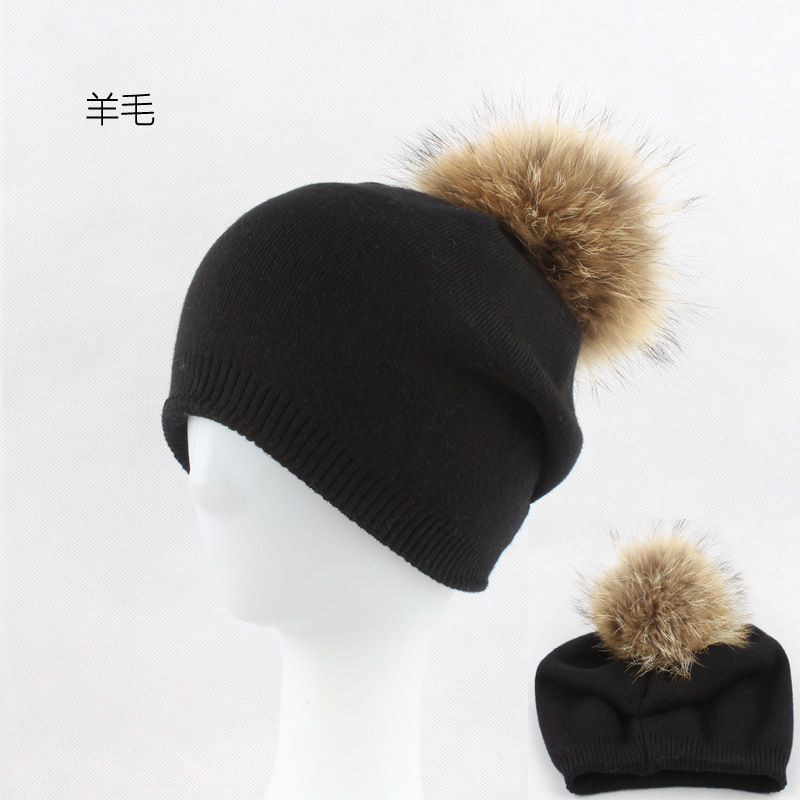 Winter Autumn Pom Pom Beanies Hat Women Knitted Wool Skullies Casual Cap Real Raccoon Fur Pompom Hats skullies beanies newborn cute winter kids baby hats knitted pom pom hat wool hemming hat drop shipping high quality s30