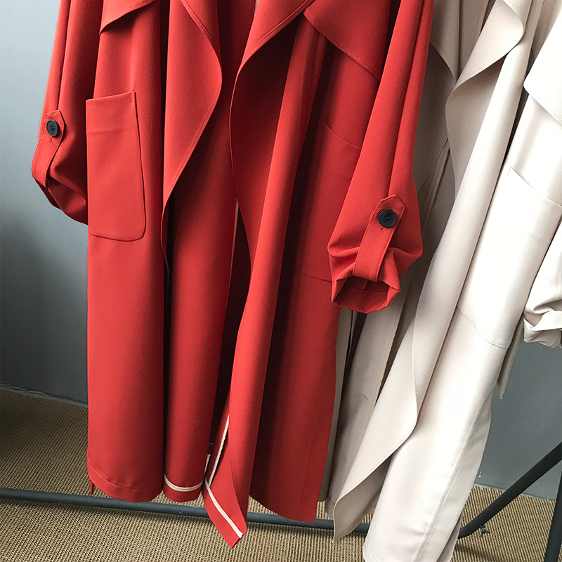 19 Spring Women Long Coat Turn Down Collar Harajuku Women Army Green Trench Coat Casaco Feminino Abrigo Mujer Trench Femme 15