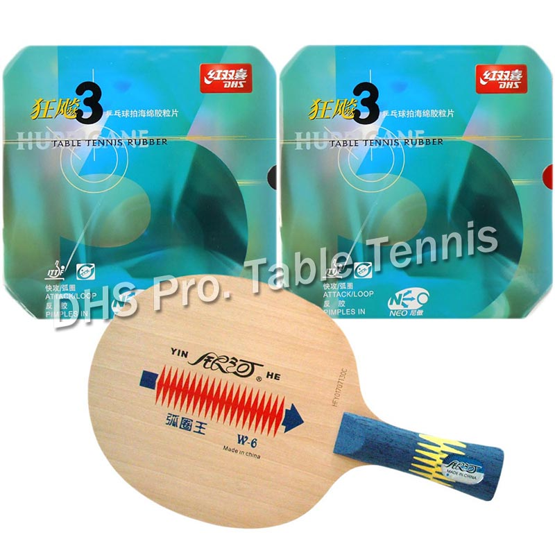 Pro Table Tennis PingPong Combo Racket Galaxy YINHE W-6 with 2x DHS NEO Hurricane 3 Rubbers shakehand Long Handle FL galaxy milky way yinhe v 15 venus 15 off table tennis blade for pingpong racket