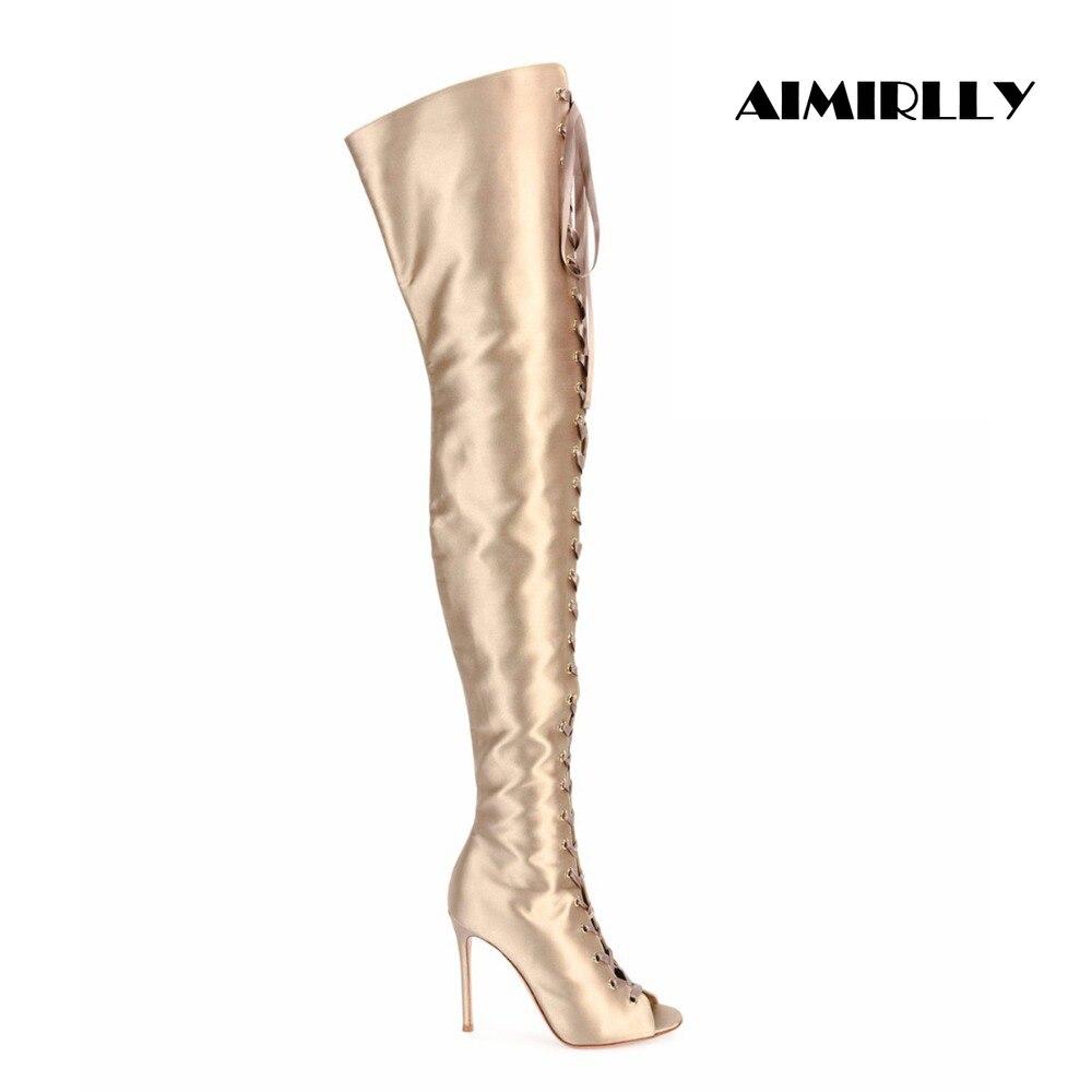 Femmes Peep Toe à lacets sur les genoux bottes or Satin cuisse talons hauts bottes taille américaine 4-15.5 à la main