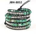 Мода Стиль натуральной кожи ручной работы браслет 6 мм агат и серебряные шарики браслет симпатичные браслет мужчин и женщин JBN-8852