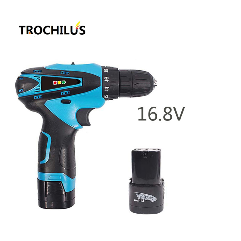 16.8V cordless Screwdriver Multi-function Power Tools Rechargeable Mini electrical Screwdriver with Lithium Battery * 2 2000mah rechargeable lithium battery pack for nds lite with screwdriver