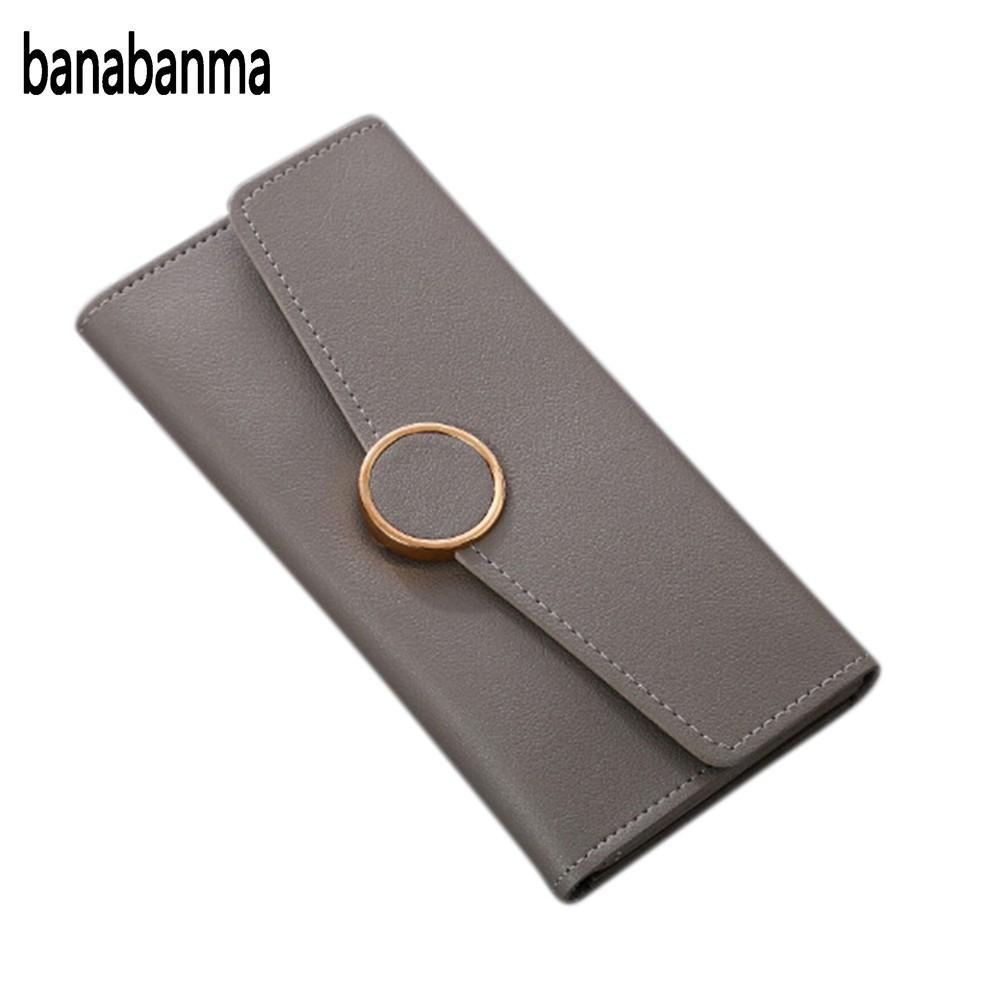 купить banabanma Women's Solid Color PU Leather Bifold Long Purse ID Cards Holder Cash Organizer Covered Envelope Wallet with Metal недорого