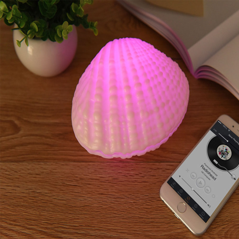 RGB LED Night Light Shell Shape Rechargeable Wireless Bluetooth Speakers Music Player Indoor Bedroom Cafe Wedding Decoration