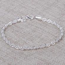 Women 925 Sterling Silver Chain Bracelets Bangles Fashion Jewelry Solid Charm Bracelets&Bangles Best Gift