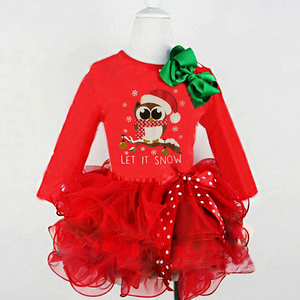 2019 Christmas Clothing Baby Girls Clothes Long Sleeve Xmas Santa Claus Tulle Girls Dress Long Sleeve Costume Mesh Dresses