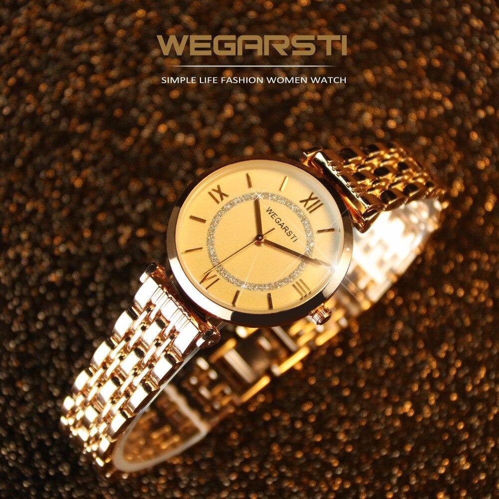 WEGARSTI Top Luxury Brand Women's Watch Quartz Watch For Woman Wristwatch Lady Gold Watch Clock montre femme relogio feminino