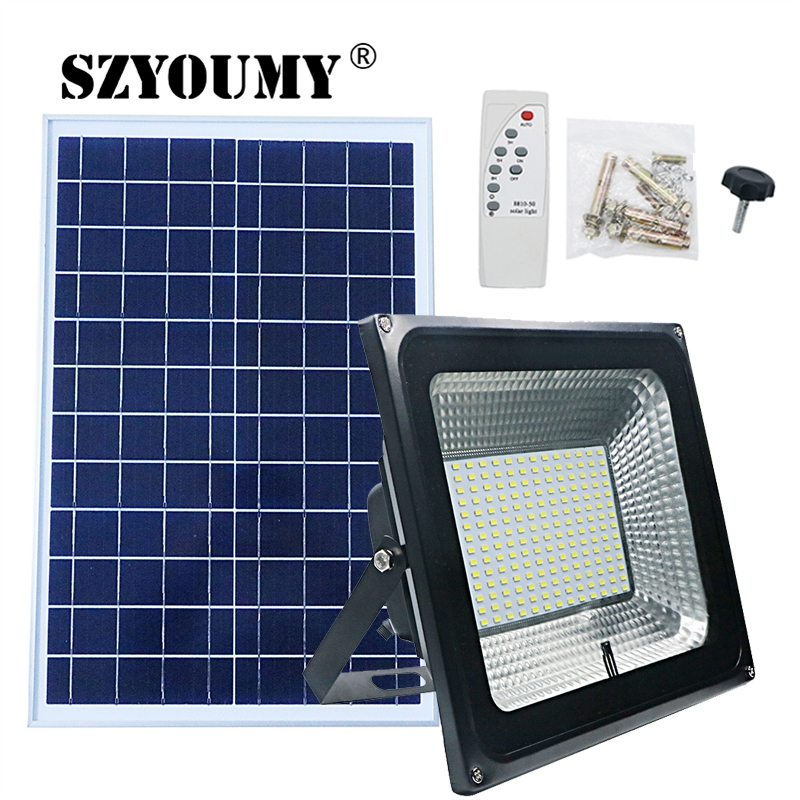 SZYOUMY NEW Arrivals LED Solar Remote Flood Light 100W Led Floodlight Waterproof Emergency Street Garden Lighting