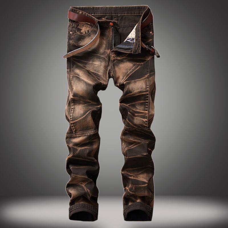 Nouveau Mode hommes jeans occasionnels droite nostalgique rétro marque de haute qualité de coton jeans hommes patchwork Denim Pantalon jean Pantalon