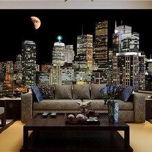 цена на living room TV background wallpaper bedroom city night 3D wall Custom paper papel de parede wallpaper for walls 3 d