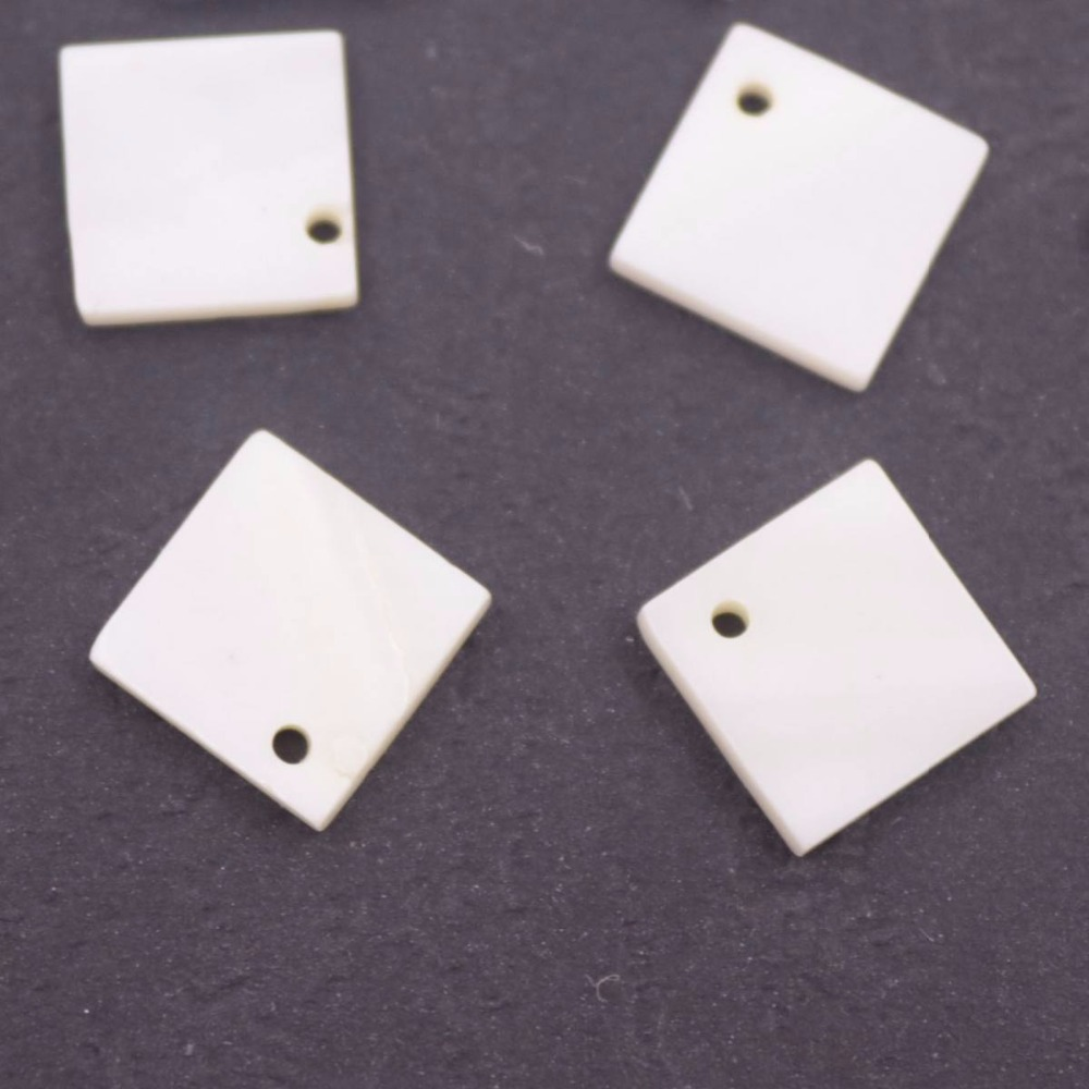 Купить с кэшбэком Lots 9 PCS 10mm Flat Square Shape Shell White Mother of Pearl Loose Beads