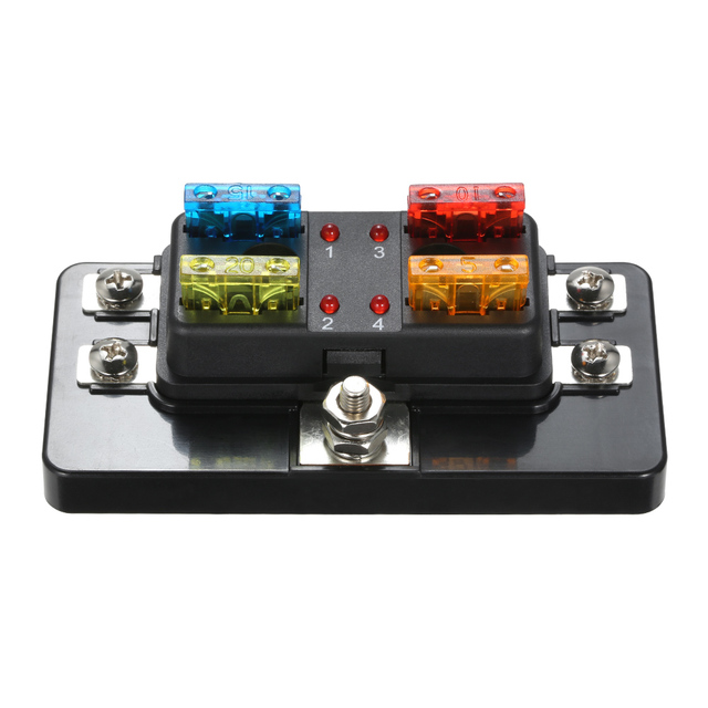 us $9 89 48% off 4 way blade fuse box with led indicator fuse block for car boat marine caravan 12v 24v in fuses from automobiles & motorcycles on  12v marine fuse box #6