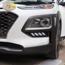 DRL For Hyundai ENCINO Kona 2018 2019 waterproof 12V LED CAR DRL Daytime running lights fog lamp cover with turn signal relay все цены