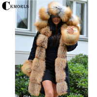 CKMORLS 2018 New Real Fox Fur Parkas For Women Jackets With Fox Fur Collar 80CM Long Coat Plus Size Thick Solid Jacket Fur Parka