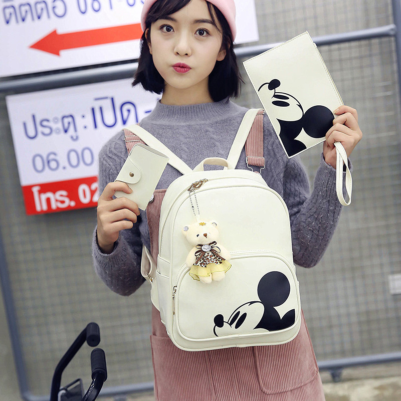 Kisstyle Women Composite Backpacks High Quality Pu Leather Fashion Mickey Backpack 3pcs/set Girls School Bag Mochila Feminina #5